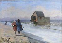 Impressionist Frauen am Strand mit Badehaus Mark Osman Curtis 1879-1959 46 x 66