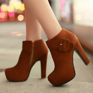 Women Winter Ankle Boots Pointed Toe Suede Chunky Heel Zip Shoes US 6 Yellow