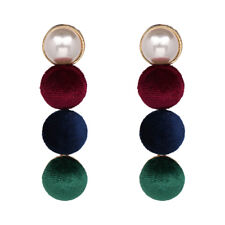 ZARA COLOURED VELVET & PEARL DROP DANGLE  EARRINGS