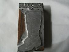 antique Advertising Wolverine work shoes gloves WOOD BLOCK Metal STAMP  typeset