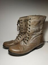 Steve Madden Troopa Stone Taupe Leather Zip Lace Combat Boots Size 9.5 M