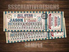 Baseball Birthday Invitation Ticket Cute Admission Vintage Set of 10