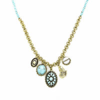 Lucky Brand Gold Tone Turquoise Bead Butterfly Multi Charm Pendant Necklace