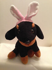 Easter Dog Bunny Rabbit Ears Black Plush Stuffed Animal Miniature Rottweiler 9""