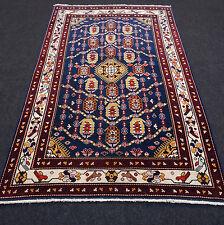 Alter Orient Teppich 168 x 105 cm Azeri Handgeknüpft Dunkelblau Old Carpet Rug