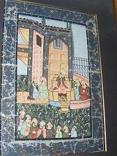 Antique indian hindoue moghol perse era peinture sur soie gouache art asiatique