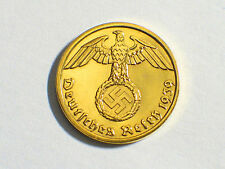1937-1940 24K Gold Plated Nazi German Swastika Coin