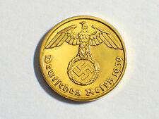 1937-1940 24K Gold Plated Nazi German Swastika Coin