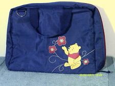 Winnie the Pooh Blue Nylon Briefcase/Luggage/Overnight Bag-4 Sections 15.5X12X3""
