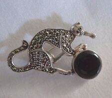 Vintage Sterling Marcasite Cat Playing w/Ball Pin Brooch- Great Gift Idea!