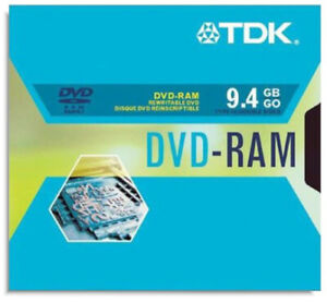 5-Pak 9.4GB TDK 2X DVD-RAM in Type-4 Cartridges (double-sided) with Hard Coat