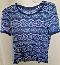 Womens Nollie Geometric Print Blue Ring T Shirt Size XS Juniors Retro