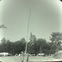 Vtg Keystone Magic Lantern Slide Photo Boy Scouts Raising The Flag