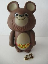 VTG 2 1979 MISHA Moscow Mascot Olympic Brown Bear Coin Bank & Collector Pin LOT