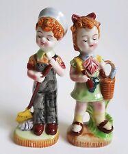 Pair Vintage Fairylite Porcelain Figures Boy w Broom & Girl w Bottle :C11