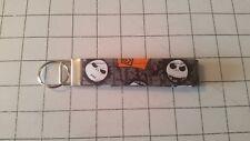 "NWOT New Handmade Jack Skellington Head Fabric Key Fob Chain Wristlet 1"" Wide"