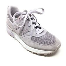 Women's New Balance 574 Walking Shoes Sneaker Size 5B Gray Suede Lilac Casual T5