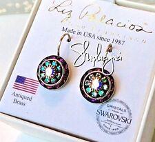 LIZ PALACIOS USA Purple/Iridescent Aurora Rondelle Drop Earrings w/ Swarovski
