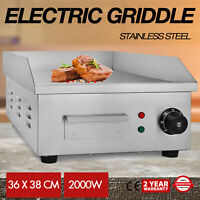 "2000W 14"" Electric Countertop Griddle Flat Top Commercial Restaurant Grill BBQ"