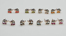 14K /14ct Rose Gold Plated Cute Small Elephant Enamel Crystal Stud Earrings