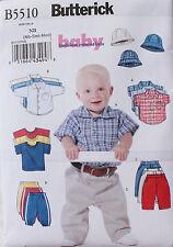 Baby Boy SHIRT, T-SHIRT-PANTS-HAT Butterick Pattern 5510  NEW Size NB-S-M