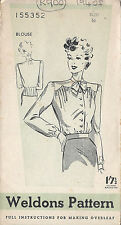 1940s Vintage Sewing Pattern B36 BLOUSE (R900)