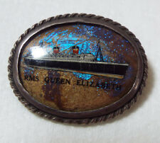 PIN QUEEN ELIZABETH SILVER SHIP BOAT OCEAN LINER PIN BROOCH RARE WW2 1939 - 40s