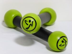 Set of 2 Light Weight Zumba Toning Sticks 1lb Green Shaker Workout Weights EUC