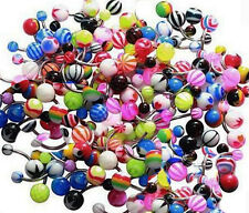 100 Belly Bars Steel Bar Coloured Acrylic Balls Random Mix  14g