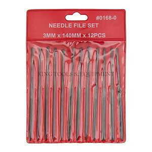 "KING 12PC 5.5"" Swiss Pattern NEEDLE FILE SET Cut 2, for Sculptors Jeweler Artist"