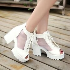 Women Gladiator Sandals Hollow High Heels Casual Lace Up Peep Toe Platform Shoes
