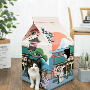 Cat House Milk Box Cat Carton Nest Scratch Board Grinder Claw Wear-Resistant
