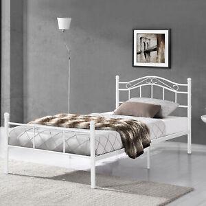 [en.casa] Metallbett 120x200 Weiß Bettgestell Bett Schlafzimmer Jugendbett