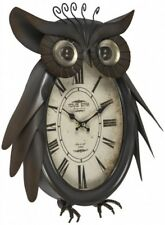 OWL Metal Wall Art with Clock *NEW* (39cm) Boxed