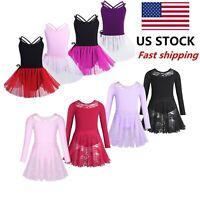 US Girls Kids Ballet Dance Dress Gym Skating Lace Leotard Tutu Skirts Dancewear