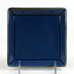 "Pottery Barn ASIAN SQUARE - BLUE 4.5"" Coaster Tidbit Plate Brown Trim Japan"
