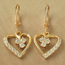 New Yellow Gold Filled Heart w/ White Clear CZ Accents Dangle Drop Earrings
