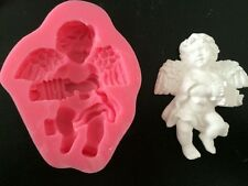 Pink Angel Boy w/Organ Silicone Mold for Fondant, Gum Paste, Choc, Cake Topper