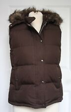 GAP M Faux Fur Hooded Brown Puffer Down Vest Zip Up Snaps