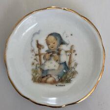 Two (2) Little M.J. Hummel Tiny Porcelain Plates w/Gold Trim Dishes • 98% Mint!