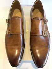Santoni Double Monk Brown Leather Dress Shoes UK 10 (US size 11)