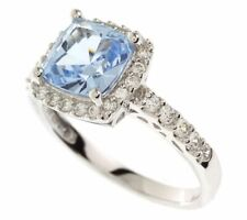 Cut Ring In 18K White Gold Over 2.35 Ct Blue & Clear Simulant Cushion