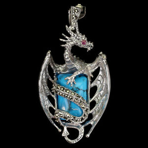Octagon Turquoise 18x13mm Ruby Marcasite 925 Sterling Silver Dragon Pendant