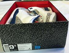 Air Jordan 3 III Retro OG True Blue White Cement Red Size 9.5