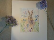 """""""HARE and BLUEBELLS"""" a Watercolour Painting by Artist Sandra Mason"""