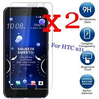 2 PACK 9H Premium Tempered Glass Screen Protector Film Guard Cover For HTC U11