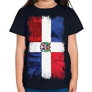 DOMINICAN REPUBLIC GRUNGE FLAG KIDS T-SHIRT TEE TOP REPÚBLICA DOMINICANA SHIRT