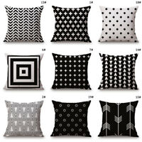 45cm Sofa Pillow Case Cotton Linen Throw Cushion Cover Home Decor Car Bed Waist