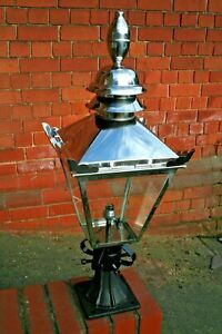 Small Stainless Steel Lantern with Cast Iron Base Victorian Lantern & Base 4728