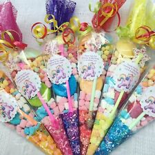 20 X Unicorn Themed Pre Filled Sweet Cones Personalised + Free Sweety Bag